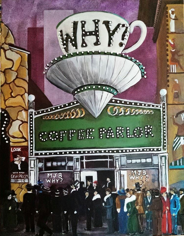 """MJB Coffee parlor at the PPIE in 1915""  Acrylic on Ca  nvas."