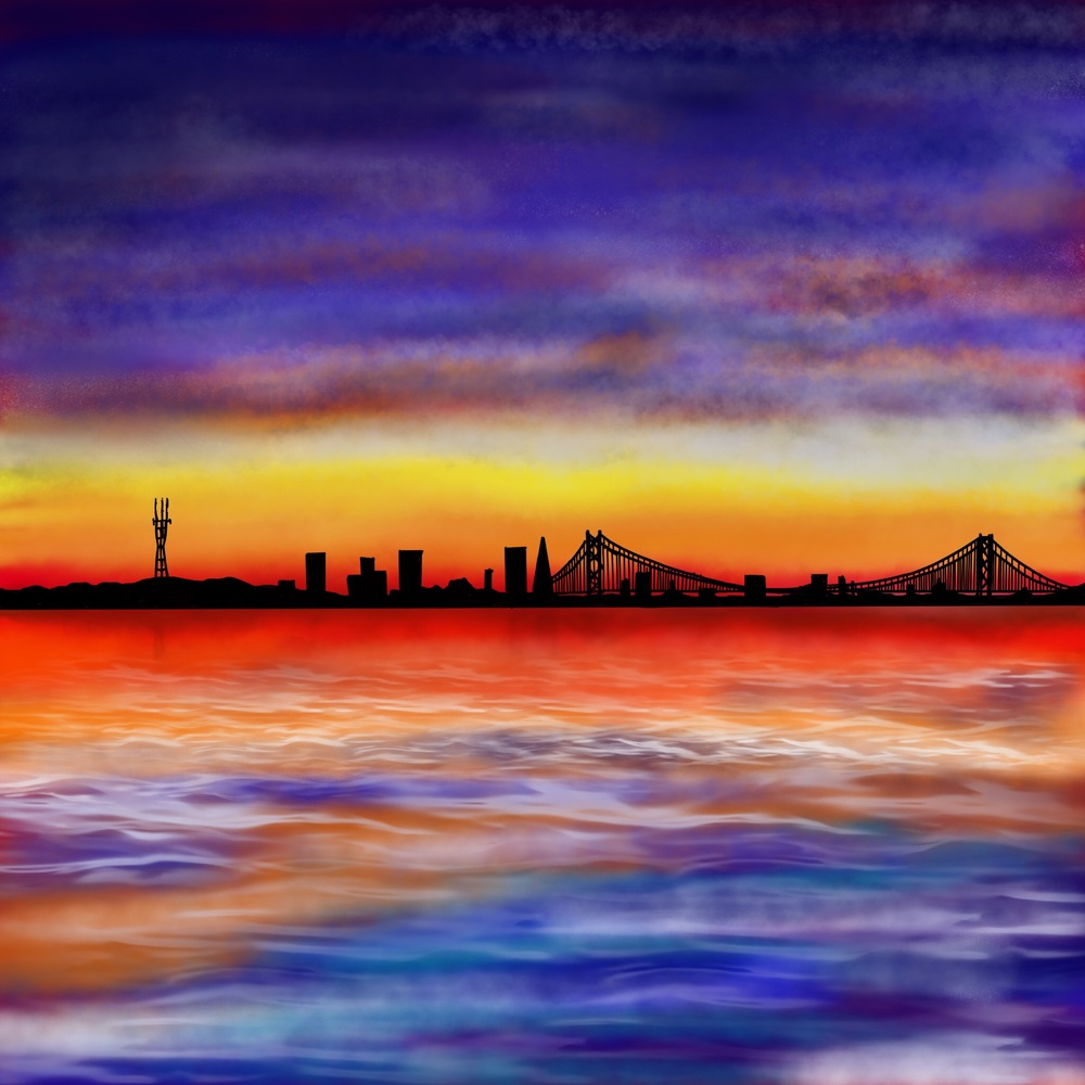 """Cityscape"" Digital painting. San Francisco's view offers a great opportunity to study, water elements, like the water's bay, the fog, the clouds and the sky  in a more or less abstract way."
