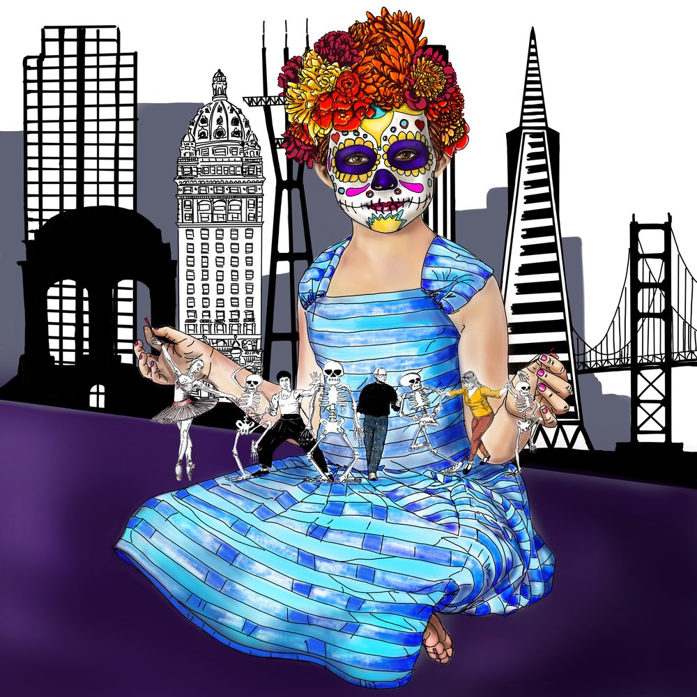 """Alice and the Day of the Dead Celebrations"" In this digital painting Alice wears the different symbols of the Mexican celebration, the marigolds in her hair, the sugar skull make up. She holds in her hands a Dance macabre, a medieval allegory on the universality of death, Bruce Lee and Steve Jobs, two San Francisco Celebrities are represented alongside 2 unknown female dancers and  a group of skeletons."