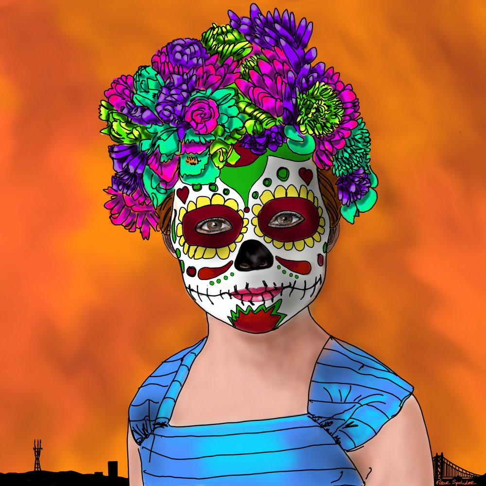 """Dias de las Muertas"" Digital Painting. The Day of the dead celebrations are a great tradition is San Francisco. Alice is represented with the marigolds crown and the sugar skull makeup in front of a silhouette of the city of San Francisco."