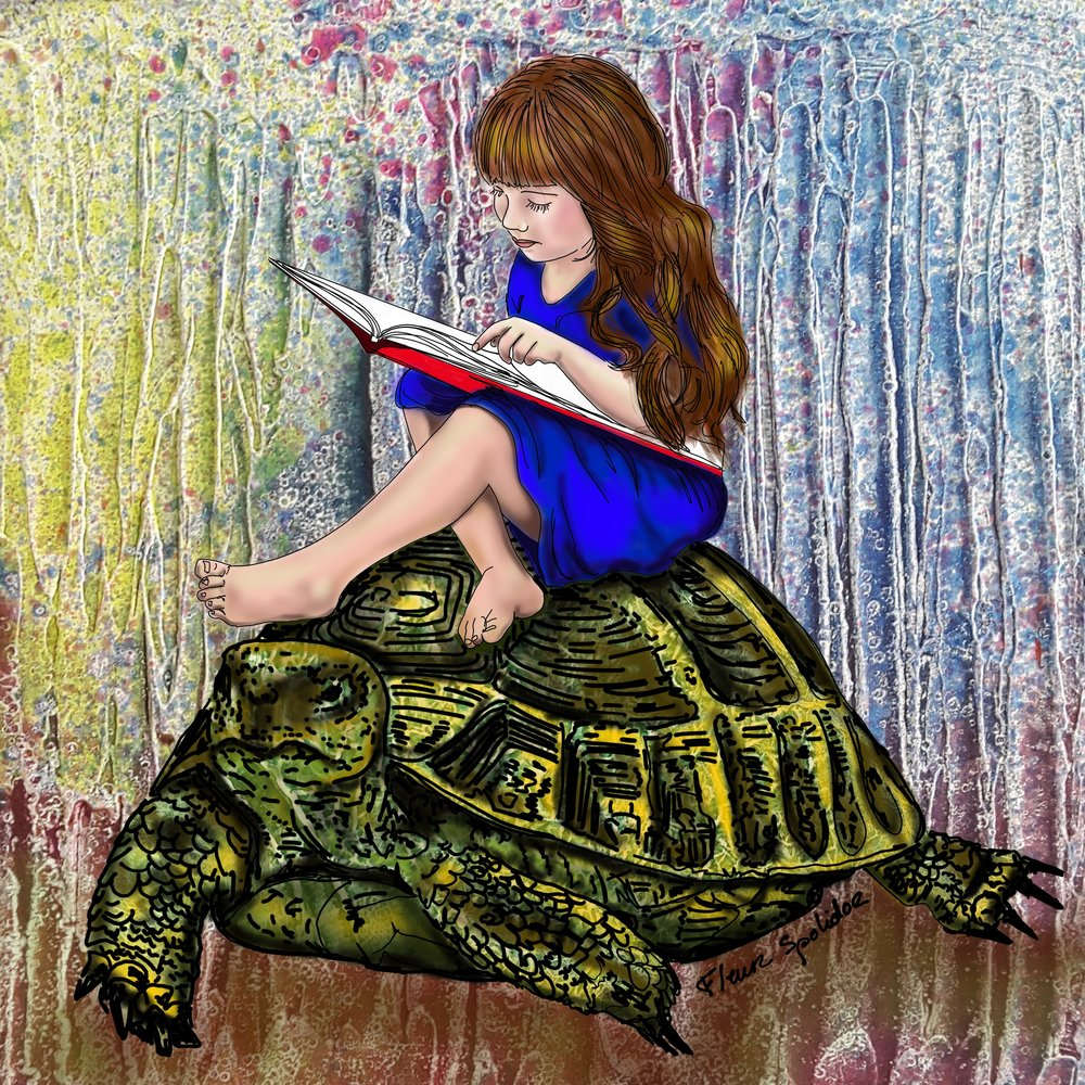 """Knowledge"" Give the gift of knowledge to the young girl to let her become a strong woman. Alice is reading a book on the back of a turtle, symbol of longevity and good health. Turtles can live up to 150 years."