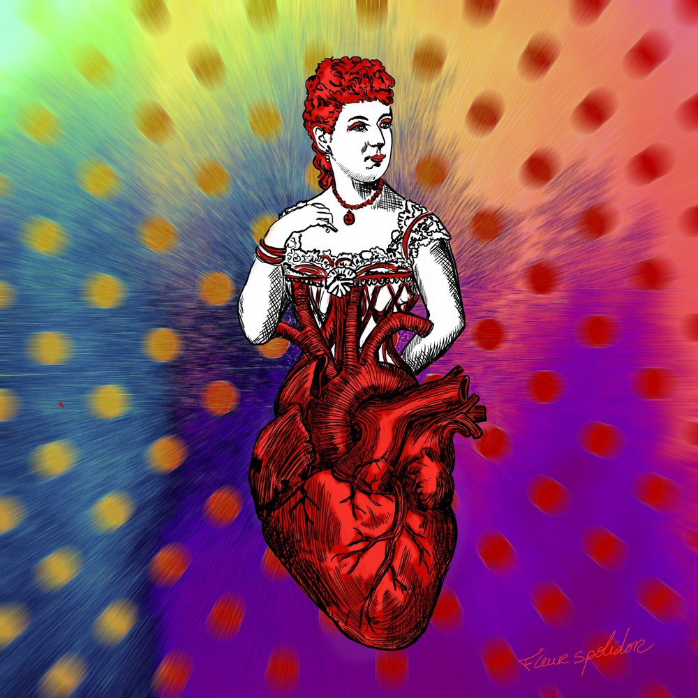 """Queen of Heart"" Digital painting. Study for a deck of cards."