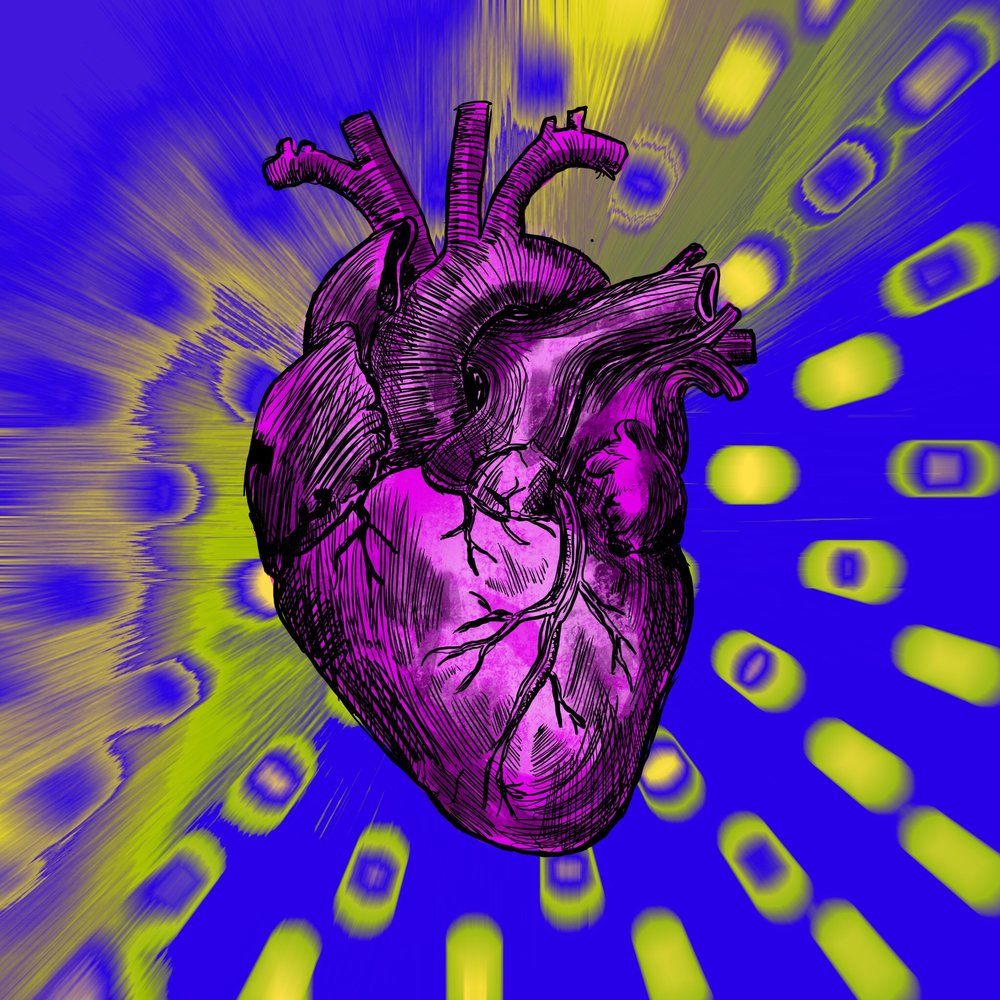 """Heart"" Digital Painting. Study for a deck of cards."