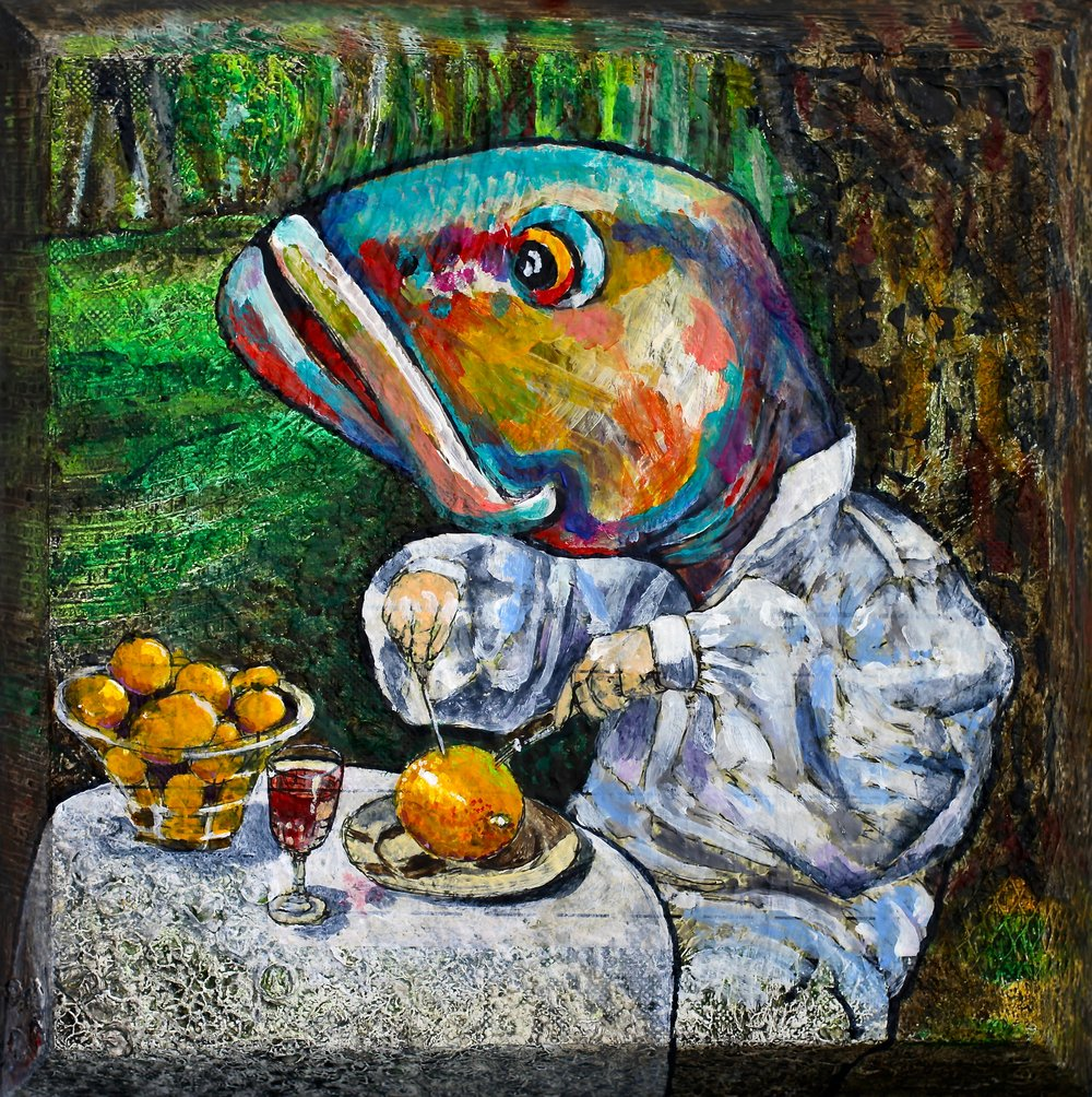 """""""Breakfast"""" Acrylic on Canvas 12""""x12"""" We live near the ocean and we always forget about it. For this image, my husband was my model, I made him a fish mask out of paint and paper and when he came back from work one evening I did a photoshoot with him and a bunch of lemons. My friend Debbie gave me one of her lemon beast that grown in her yard. The perfect diner for a trout-man. If Life gives you lemons, eat them for breakfast or make a painting on the subject."""