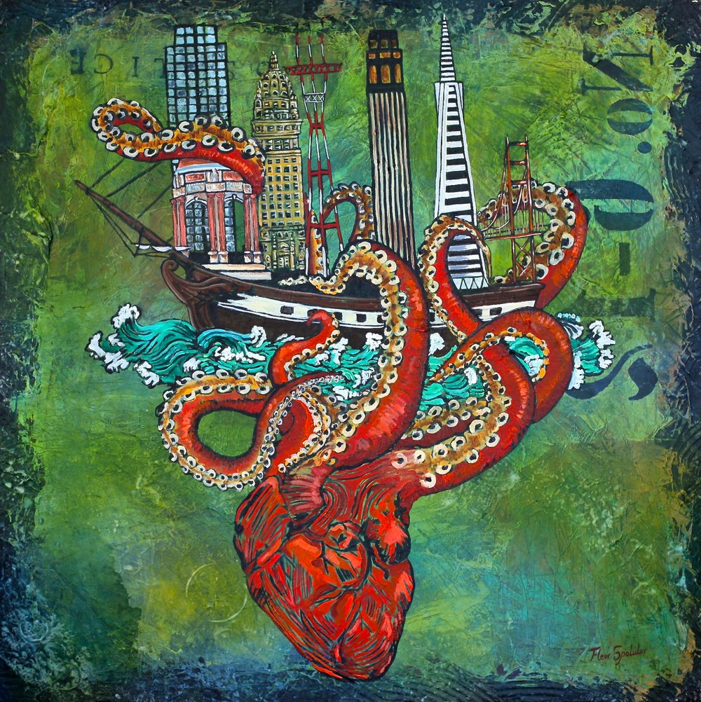 """""""Immigration in San Francisco"""" Acrylic on Canvas 36""""x36"""" Because the San Francisco Financial Distric was built on top of buried ships."""