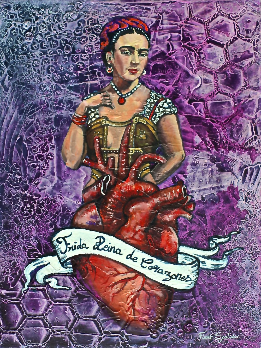 """""""Frida Reina De Corazones"""" Acrylic on Canvas 12""""x18"""" In my series of Queen of Hearts Frida is a beautiful inspiration."""