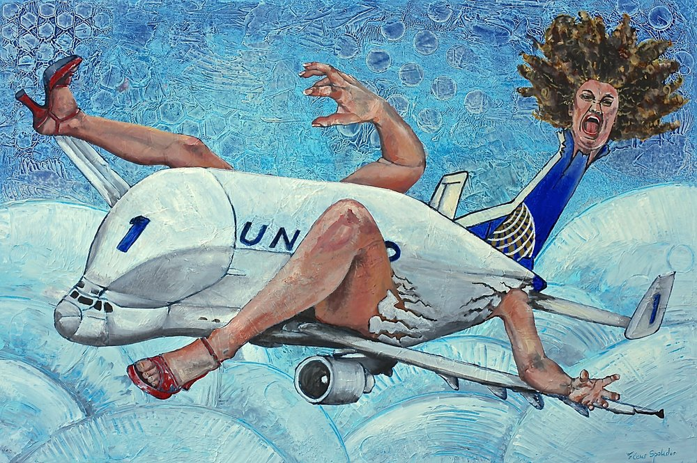 """""""Alice Flying"""" Acrylic on Canvas, 24""""x36"""" Inspired by the news and my fear of flying. Travelling is amazing, it's just too bad the airline companies make you feel like merchandise instead of human beings."""