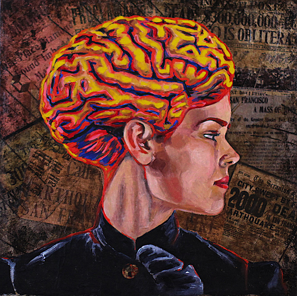 """""""She has a mind of her own"""" Oil on collage 12""""x12"""""""