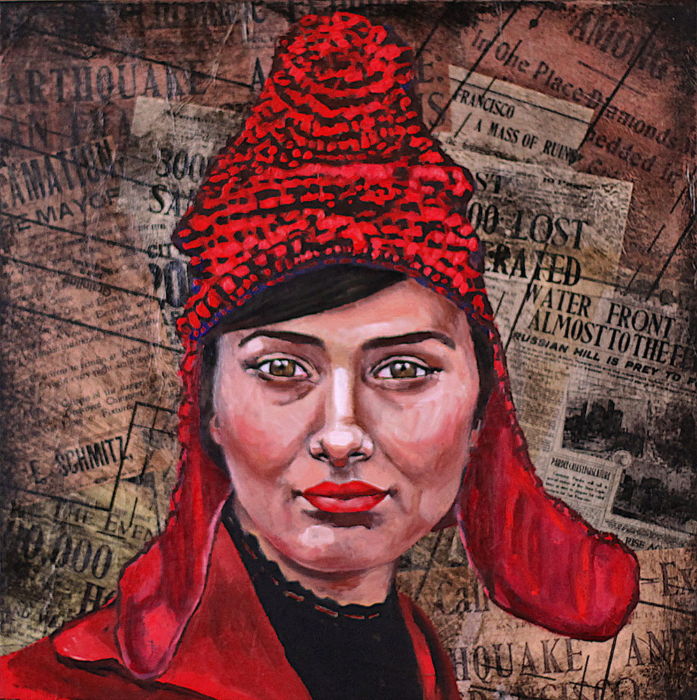 """""""Phrygian cap"""" Oil on collage 12""""x12"""" pink hat or Phrygian cap, same fight, liberty and equality ."""