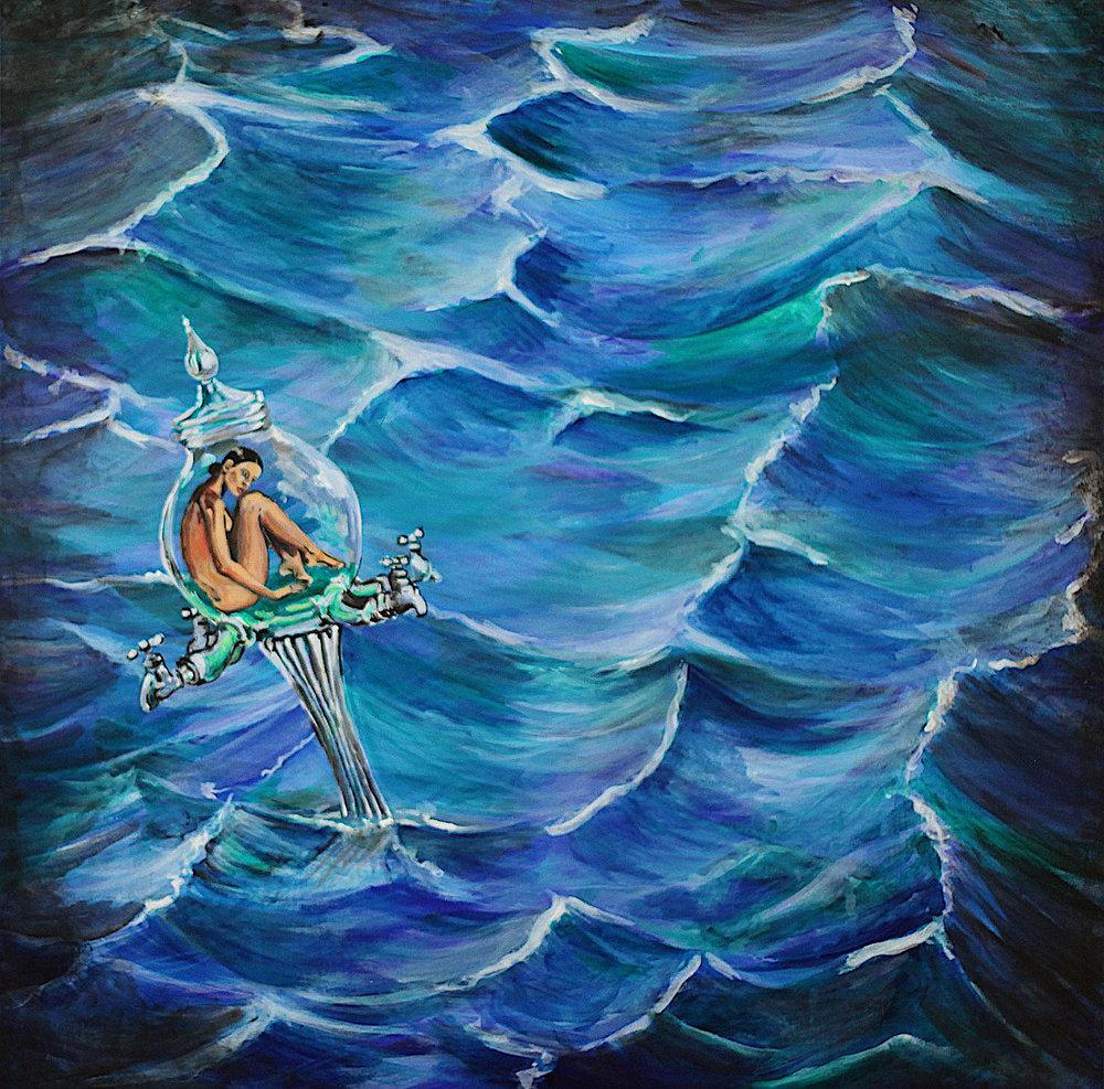"""""""Adrift"""" Acrylic on Canvas 24""""x24"""" Drifting on an ocean of Absinthe."""
