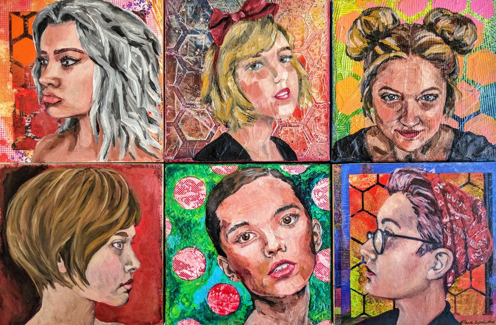 """""""We're all Alice"""". Series of small portraits 6""""x6"""" each, oil on mixed media"""