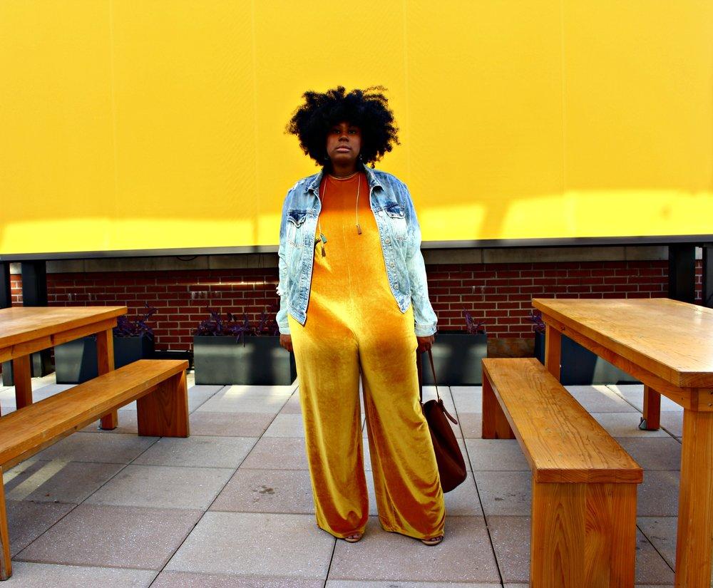 045875ad9fe Velvet Jumpsuit   Denim Jacket — ChristenaMelea