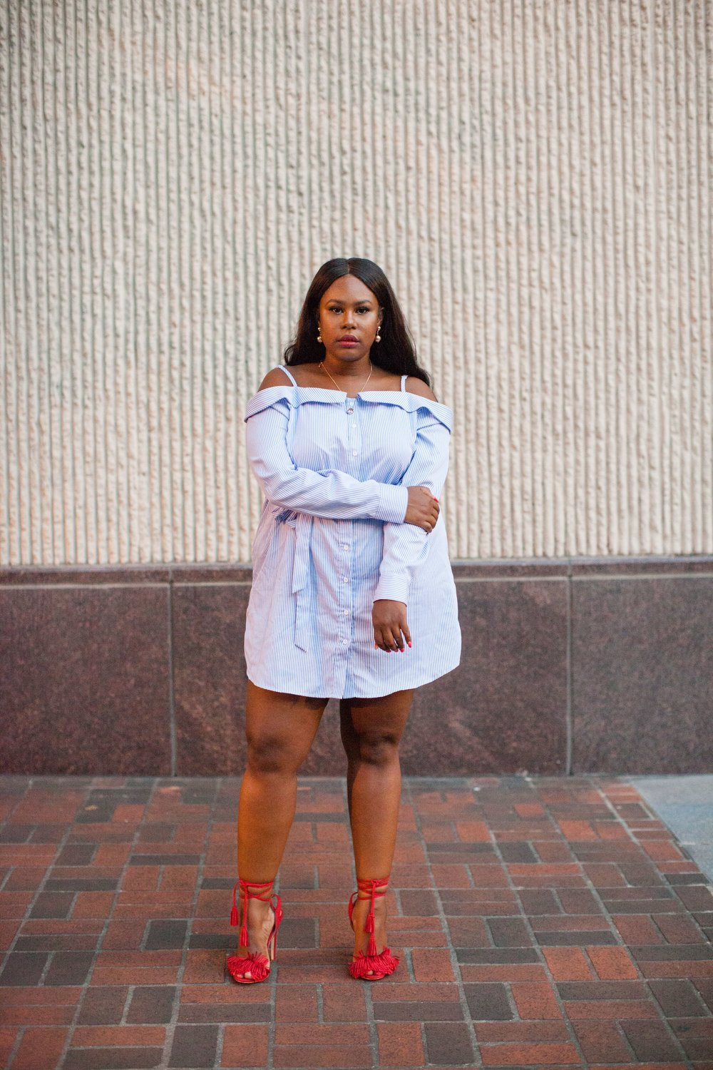 Striped Dress Deconstructed Dress Plus size Belted