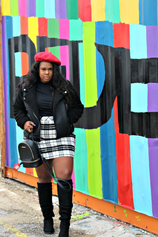 Plus Size Shearling Jacket Plaid Mini skirt