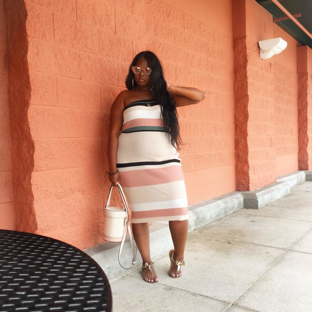 Forever 21 Plus Sized Striped Tube Dress