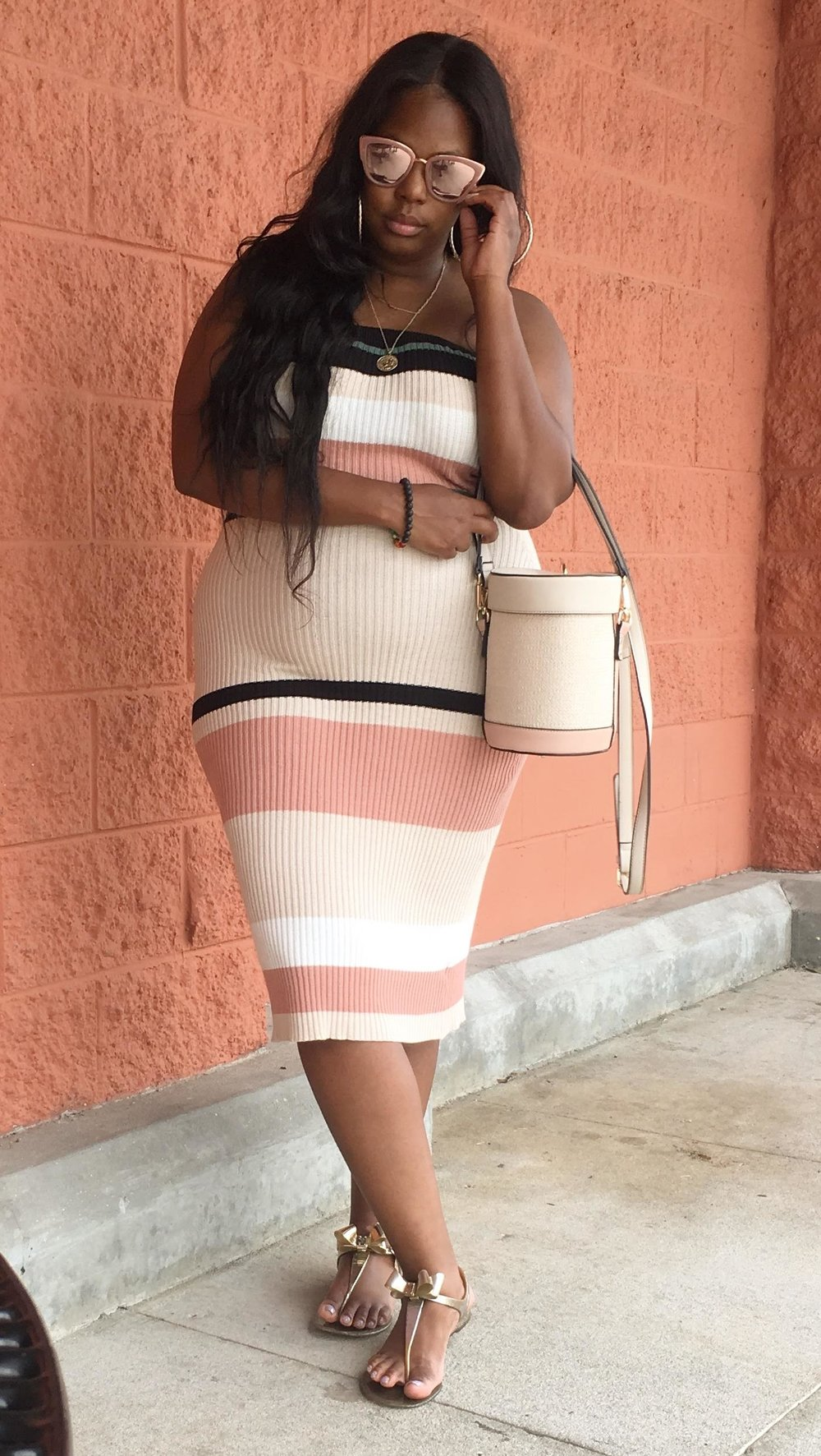Plus size striped tube dress