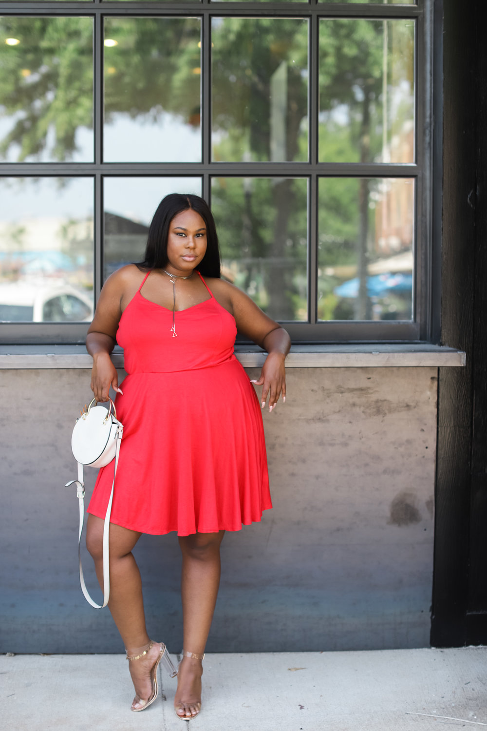 Red Skater Dress Plus Size Alabama blogger