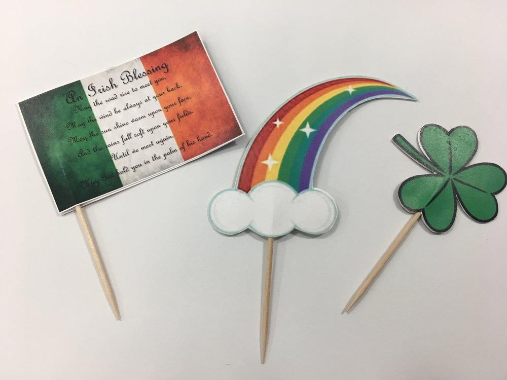 DIY Tip: - If you decide to add the flag to your calderon, you have the option to punch a hole in one of the corners, and string your ribbon through. Wrap around the calderon, and tie a bow at the end .You can also opt to apply a toothpick to your flag and add to the cauldron with the rainbow and clovers, as I decided to do. :)