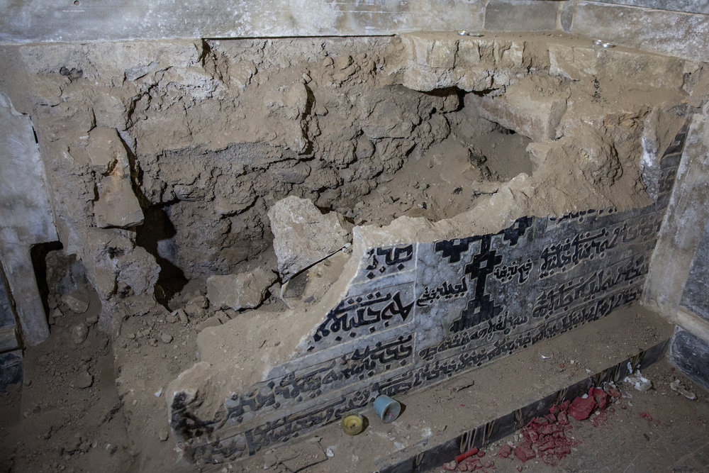 An saint's ossuary smashed