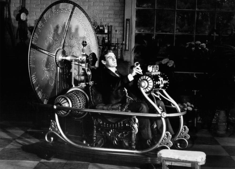 Actor Rod Taylor tries to fast forward in the 1960 film  The Time Machine .  PHOTOGRAPH FROM METRO-GOLDWYN-MAYER/GETTY IMAGES