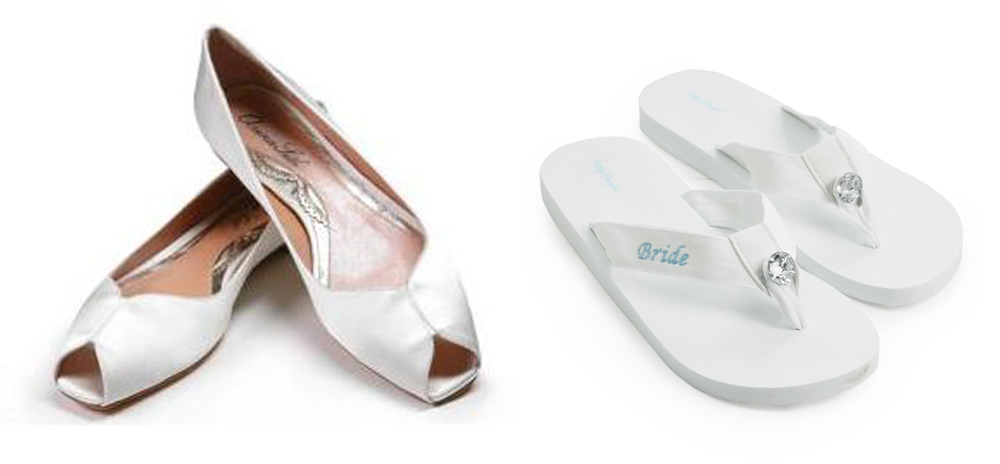 These bridal flats are by  Aruna Seth  and the flip flops are by  Cathy's Concepts  .