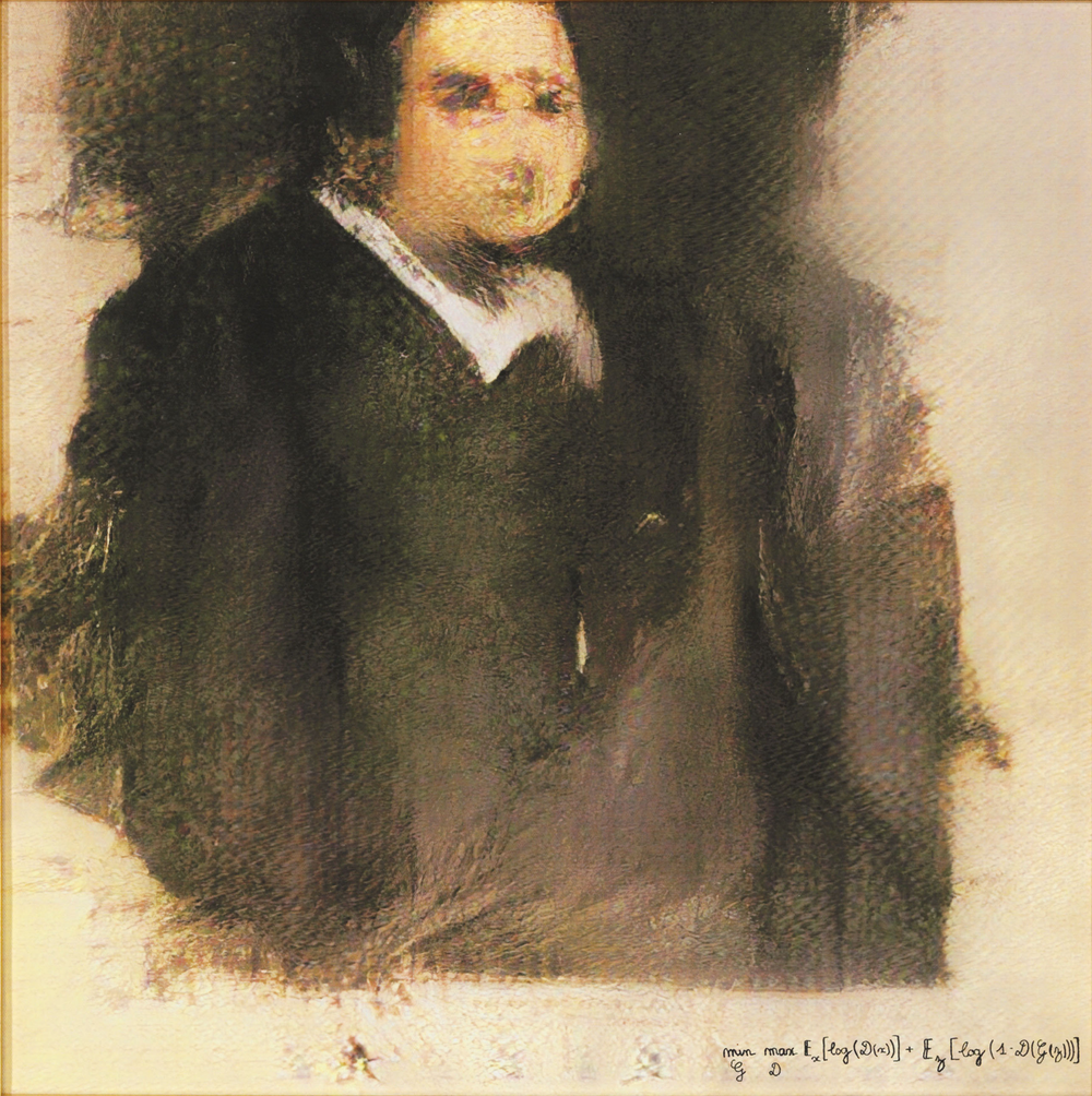 """Portrait of Edmond Belamy"" painted by AI programmed by  Obvious ."