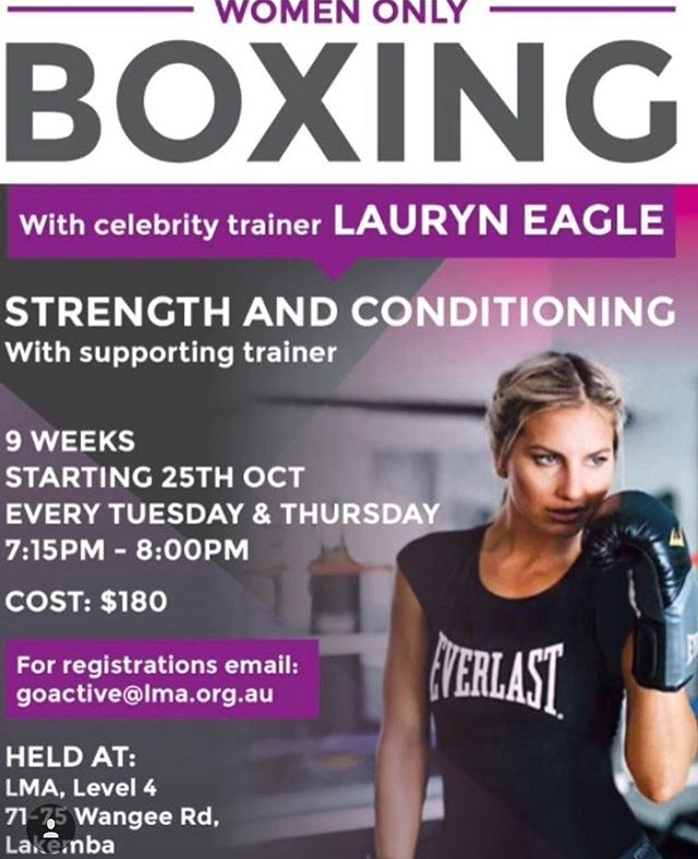 Classes start this Tuesday night, get your registrations in before this Tuesday to be a part of the Womens 9 week fitness challenge!! To register your name please email: goactive@lma.org.au Hurry spots are limited 😊👊🏼❤️ @goactivewomen 👌🏼