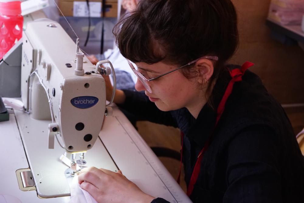 seamstress making lara intimates underwear made in london ethically