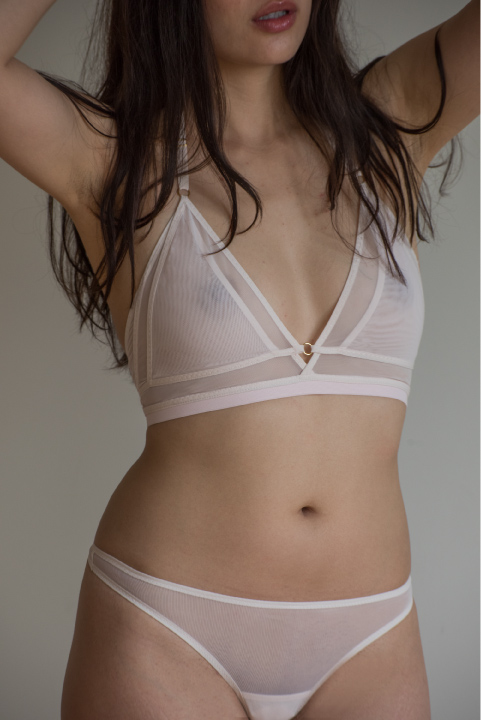 The Coral Bra. Pictured in light pink. Available in black, light pink, hot pink, pop, blue or grey.
