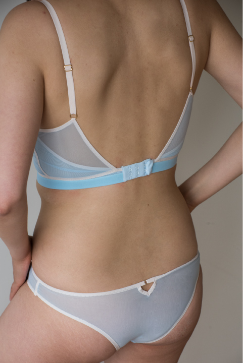 The Clio Bra. Pictured in pop blue. Available in black, light pink and pop, blue.