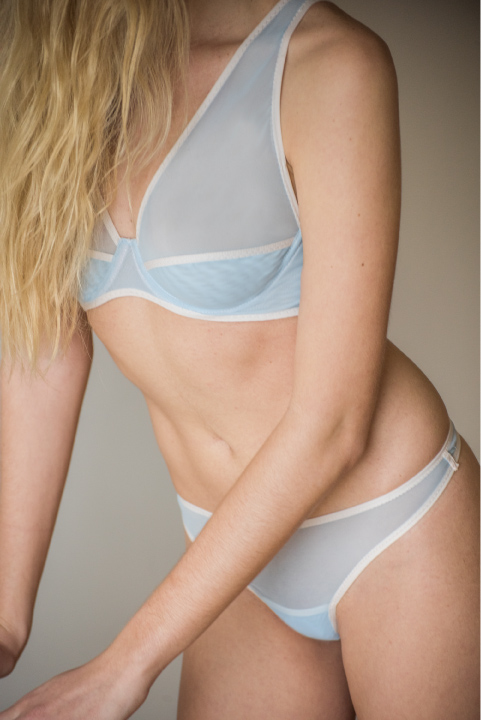 The Delilah Bra. Pictured in grey and pop blue. Available in black,pop, blue or grey.