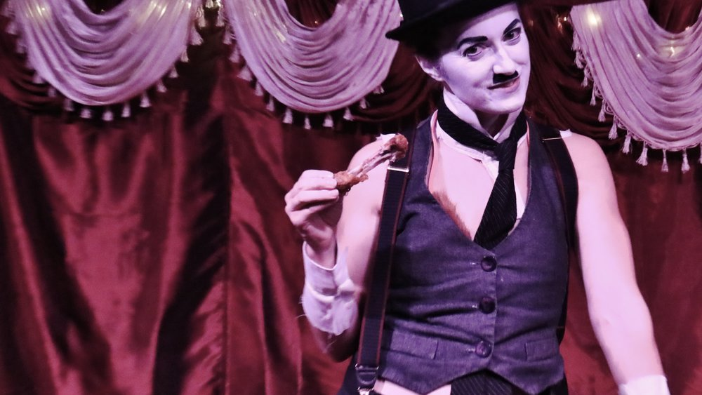 Vaudeville/Burlesque / Juggling - Fiona organized a Southcentral Alaska Tour with the Dazzling Rosemarie Show, a 5-member variety troupe, in March 2018. In November 2017, she appeared as Charlie Chaplin in a juggling burlesque performance for Pulse Dance Company's Gold Rush-themed burlesque show. She reprised the role in March 2018 at the Cabin Fever art installation hosted by the Anchorage Museum at Kincaid Park with a more family-oriented theme of finding warmth in the darkness.Photo Credit: Alexander Tilley.