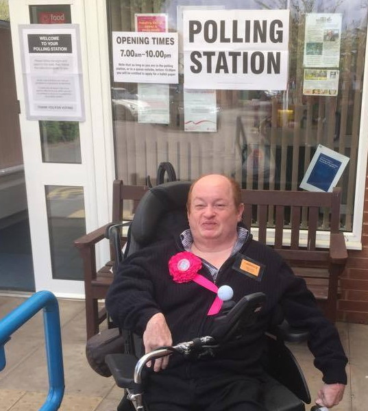 Rob at polling station on General Election Day 2015