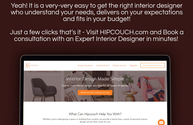 Get Expert Interior Designers with Hipcouch in few clicks