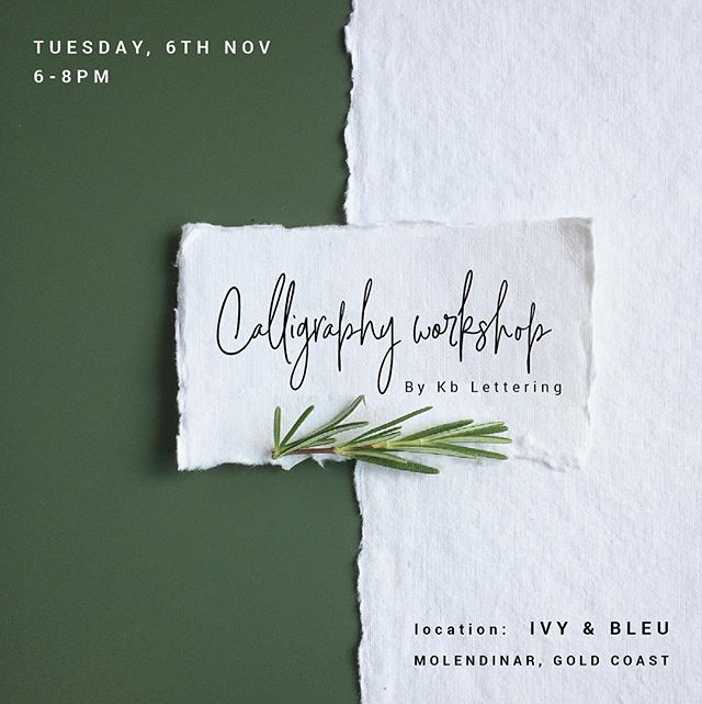 Our first calligraphy basics workshop is available to book at www.kblettering.com.au/workshops. A huge thanks to @ivyandbleuevents sharing your new studio space with us ❤️ Get in quick as spaces are limited! . . . . . . . . #workshop #goldcoast #calligraphy #calligraphyworkshop #lettering #diy #goldcoastweddings