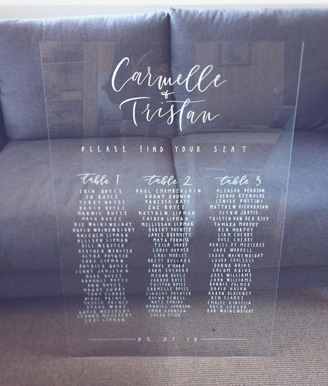 Acrylic seating chart for Carmelle & Tristan ✨ A wonderful couple with a beautiful Burleigh wedding. Congrats! . . . . . #lettering #calligraphy #weddingsigns #weddinginspo #brisbanebride #sunshinecoastweddings #goldcoastwedding #goldcoastbride #welcome #welcomesign #wedding #bride #reception #acrylic #weddingcalligraphy #reception #queenslandbrides #design #interiorinspo #engaged #shesaidyes #gettingmarried #acrylicsign #seatingchart