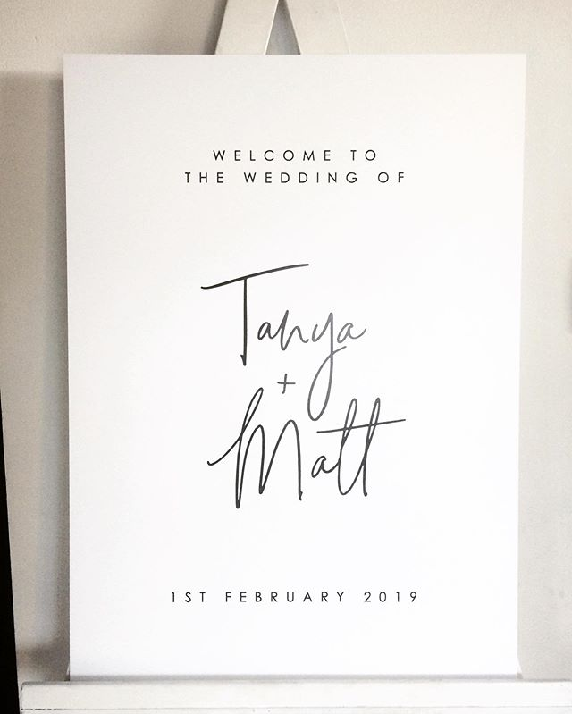 A big congratulations to Tanya & Matt who got married on the weekend! Modern signature style script printed on white foamboard – perfect on its own or a floral corner piece ... . . . . . #lettering #calligraphy #weddingsigns #weddinginspo #brisbanebride #sunshinecoastweddings #goldcoastwedding #goldcoastbride #welcome #welcomesign #wedding #bride #reception #timbersign #weddingcalligraphy #reception #queenslandbrides #design #interiorinspo #engaged #shesaidyes #gettingmarried