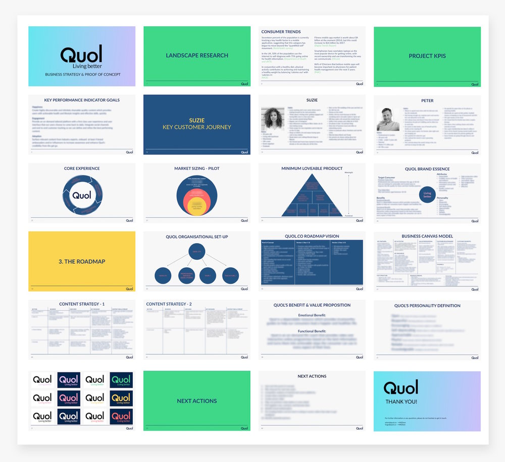 Some key frames from the branded pitch deck. Some information is blurred out for privacy.