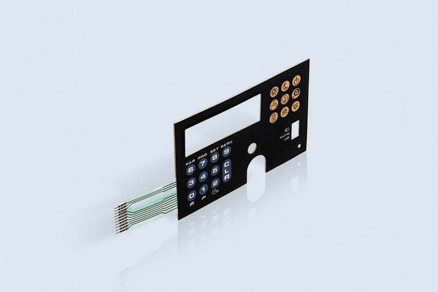 Clavier à membrane avec bouton métallique (avec un circuit PET)