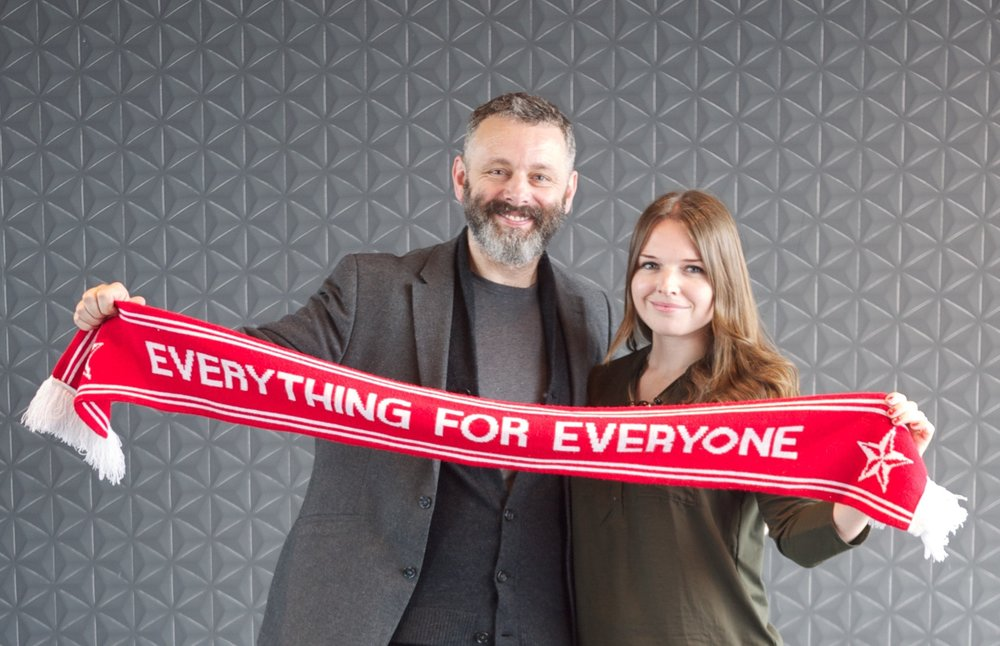 'Everything for Everyone', 2017.  Photograph with actor and social justice activist, Michael Sheen.