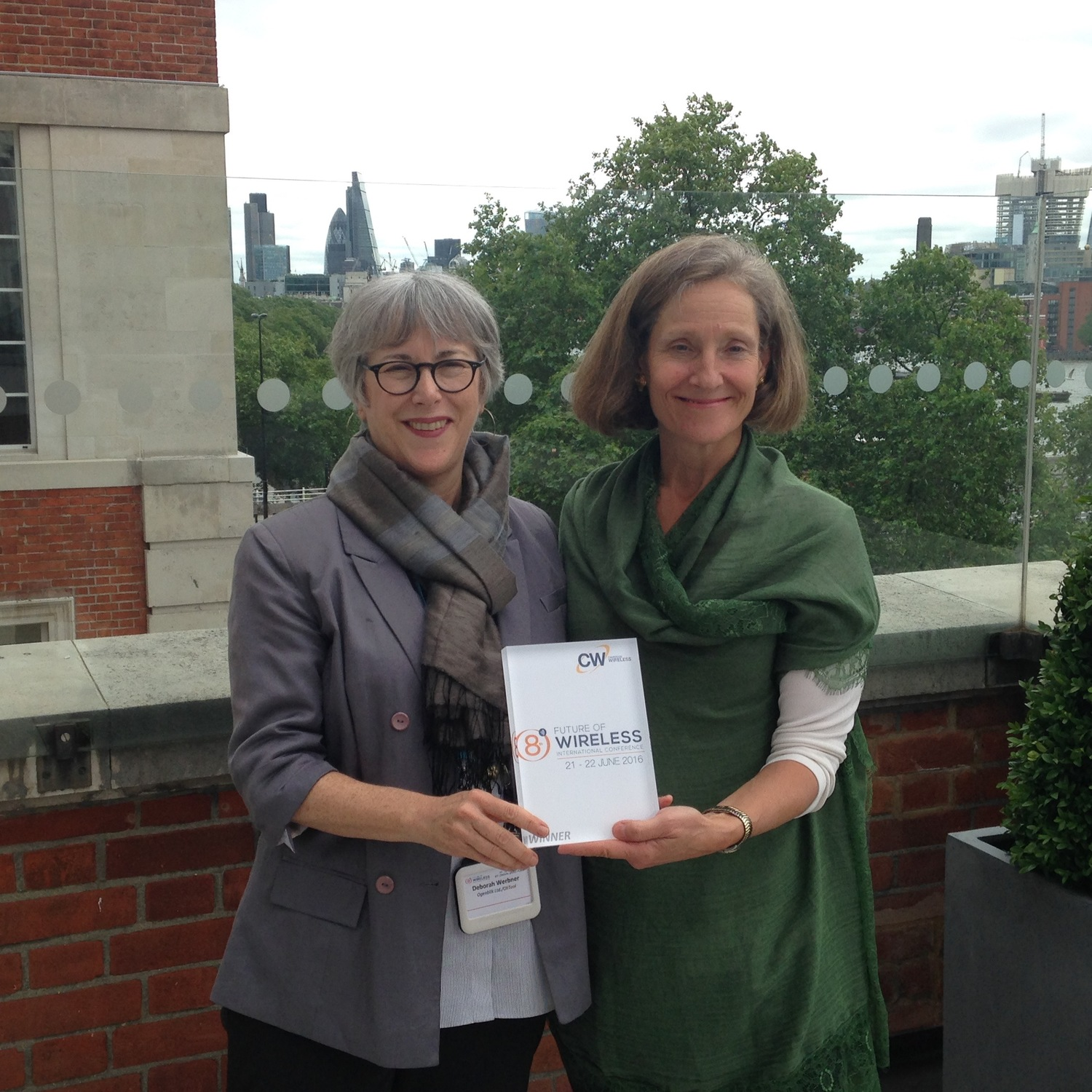Deborah and Lisa with their award at Cambridge Innovation Showcase June 22 2016