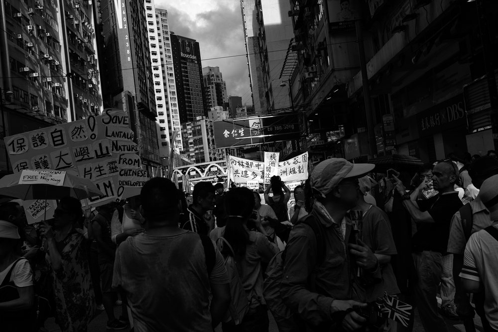 Protests on July 1st, the date the Hong Kong Special Administrative Region was established. Wan Chai. 2017
