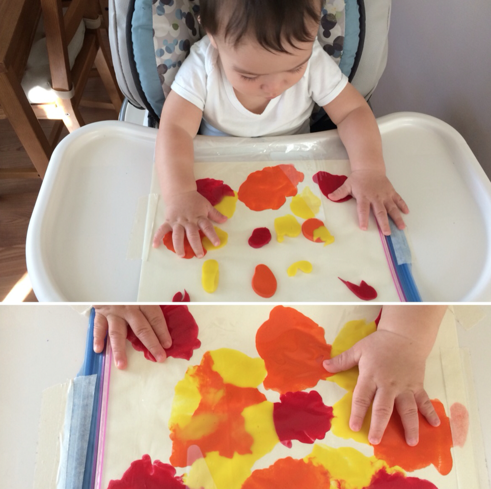 Ziploc bag painting and color mixing