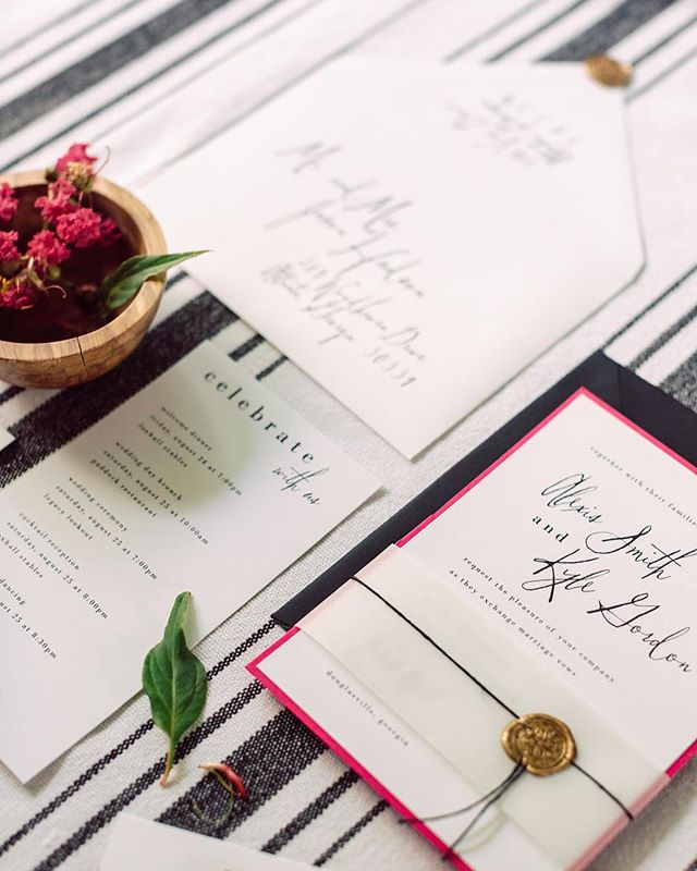 Even though it's #sundaybumday we've still got this #styleshoot & stationery on the brain! @tigerlilyinvitations  Feature: @stylemepretty {Link in Profile}  Photography: @dianalupuphoto  Planning, Styling & Design: @detailedidos  Floral Design: @dianthusandco  Venue: @foxhallresort  Hair & Makeup Design: @margaretsniderartistry  Stationery: @tigerlilyinvitations  Linens: @latavolalinen  Rentals: Presentime Rentals  Cake: @gingerspicebakery  Welcome Gift: @fromsirwithlove  Brides Attire: @thesentimentalistatl @houghtonnyc  Veil: @jaclynjordanny  Earrings & Comb: @hushedcommotion  Grooms Attire: @theblacktux  Models: @rachel_hegner @johnpatrickanthony @saltmodel  #stylemeprettyweddings #stylemeprettybride  #foxhallresort #foxhallwedding #foxhallweddings