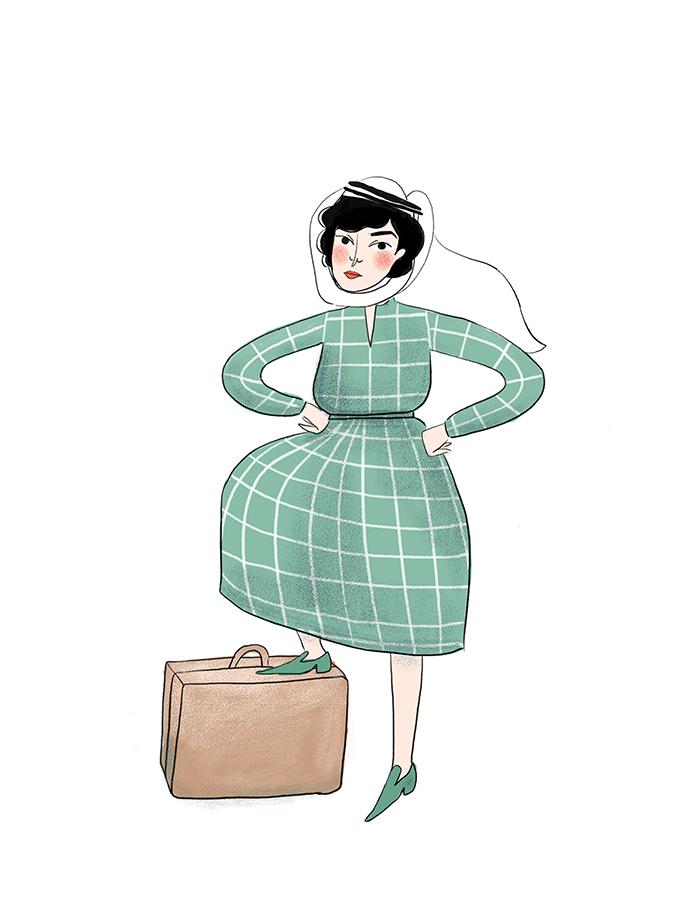 Explorer Freya Stark, illustrated by Viktorija Semjonova for Oh Comely issue 31.