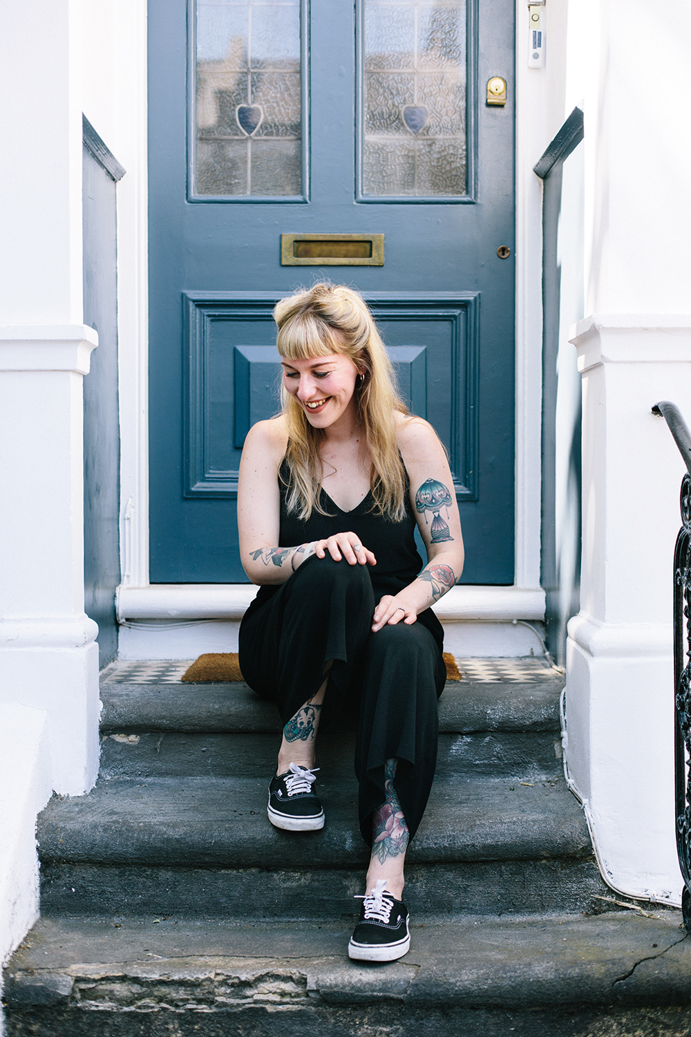 Editor Alice Snape outside her London front door