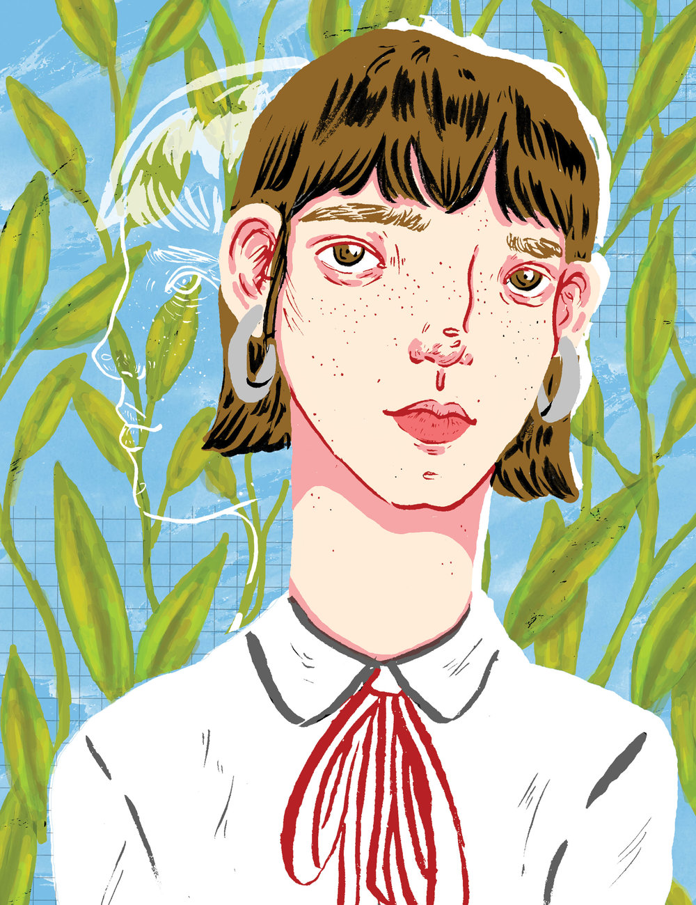 "Illustration by Cecily Goff  ""For my whole life, my mental health, or somewhat lack of, has been a large part of my identity. No, I am not defined by my diagnosis but the way I feel and react to the world around me is a large part of who I am today, medical professionals just gave me a name for it. Some days I'm not sure if I'm 'me' and other days I'm not sure who 'me' is and if she really exists at all. Feeling trapped in overgrowth, I'm not sure if I'm growing as a person or if my fears and problems are growing and I'm simply accompanying them along the way,"" says Cecily about this illustration."
