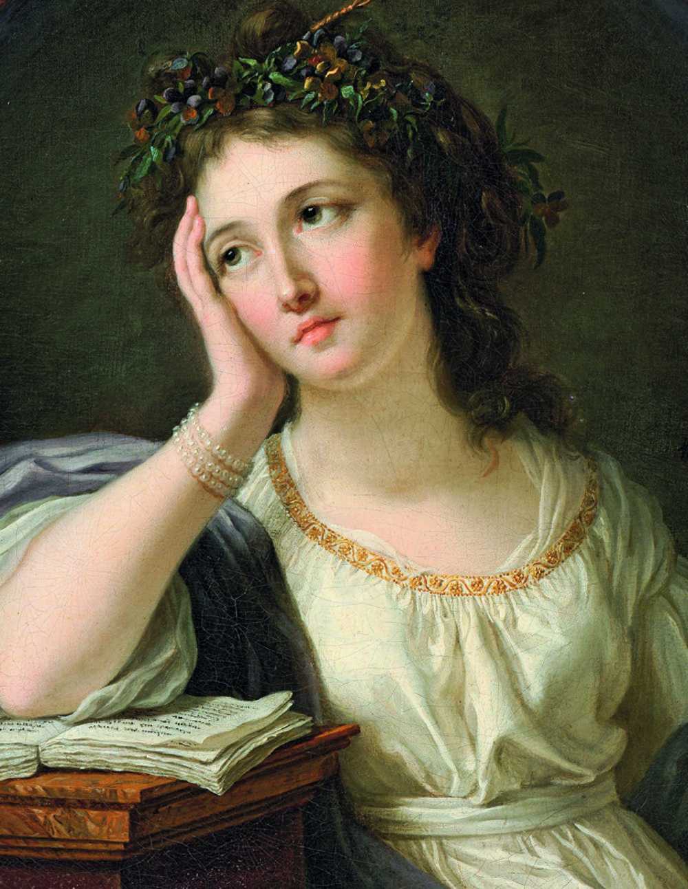 Young Woman Leaning on a Book, Anne Vallayer–Coster, 1784, oil on canvas, dimensions unknown, Private collection. Private Collection