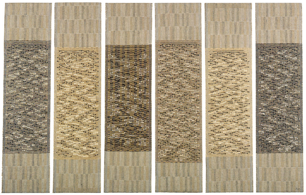 Anni Albers,  Six Prayers , 1966–1967. Cotton/linen, bast/silver, Lurex. 1861 x 2972 mm. The Jewish Museum, New York, Gift of the Albert A. List Family, JM © 2018 The Josef and Anni Albers Foundation / Artists Rights Society (ARS), New York/DACS, London