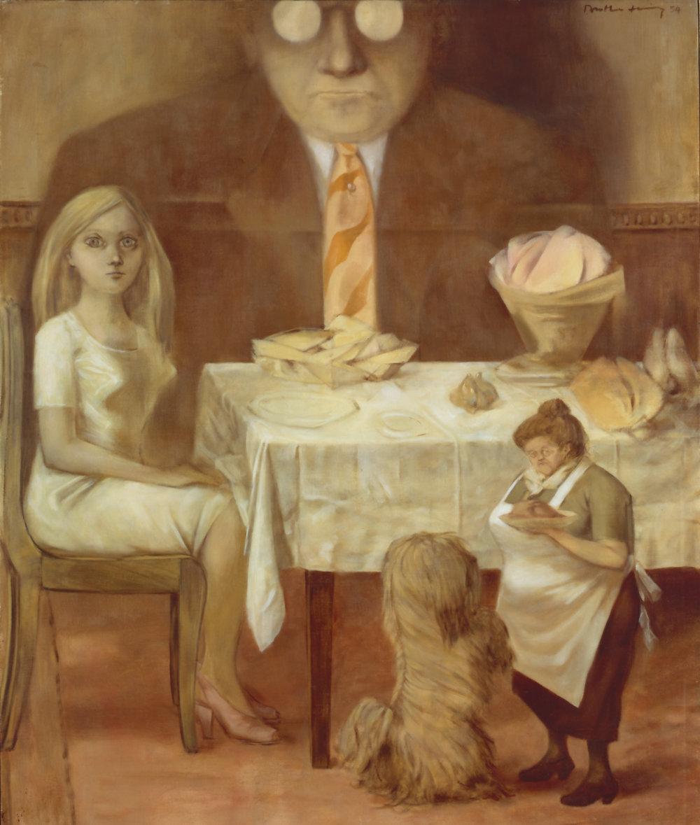 Dorothea Tanning (1910 – 2012),   Family Portrait,  1954 Oil paint on canvas Acquired in 1977. Centre Pompidou, Paris. Musée national d'art modern/ Centre de création industrielle Photo © Centre Pompidou, MNAM-CCI, Dist. RMN-Grand Palais /image Centre Pompidou, MNAM-CCI © DACS, 2018